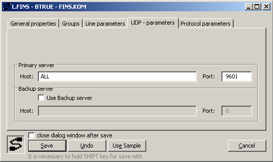 Omron FINS - The TCP/IP-UDP line configuration in the D2000.