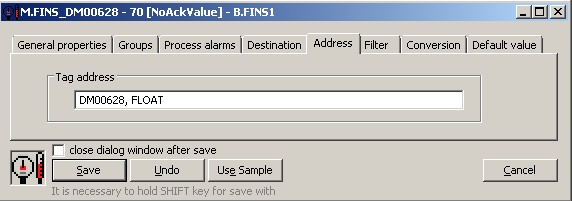Omron FINS - I/O tag address configuration in the D2000 CNF
